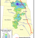 English: A map showing aquifer thickness of the Ogallala Aquifer with the proposed Keystone XL Pipeline route laid over.