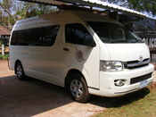 English: White Toyota van, seen at Nawa Police station, Thailand.