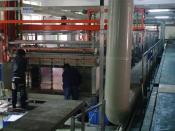 English: computer controlled copper electroplating machine for layering PCBs Deutsch: Anlage zur Elektroplattierung