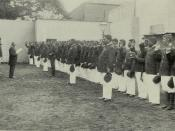 English: Taking the Oath of Allegiance to the United States - Hawaiian Police Force Being Sworn In After Annexation.