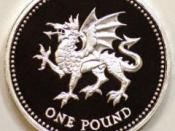 British one Pound coin (reverse), depicting the red dragon (Welsh: Y Ddraig Goch )