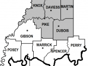 Closeup of Southwestern Indiana. White counties are on Central Time, gray counties are on Eastern Time.