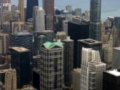 English: Looking northeast from the Willis Tower Skydeck, Chicago, IL, USA
