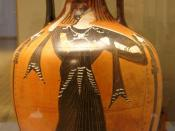The goddess Athena on a panathenaic prize amphora. Attic black-figured amphora, 332–331 BC (made in Athens during the archonship of Niketes). From Capua, Italy.