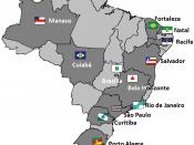 English: Map showing the host cities of FIFA 2014 World Cup Português: Mapa com as cidades sede da Copa 2014