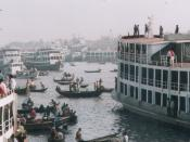 Sadarghat port on the Buriganga river is an important river transport hub