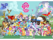 Luna and Celestia are visible on the top left and right corners of this poster for the San Diego Comic Con.