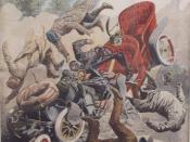 Français : Illustration d'un accident automobile par Eugène Chaperon
