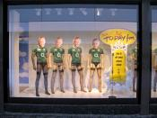 English: Window dressing, Mary Street, Dublin On the weekend of the six nation, Ireland v Scotland rugby match.