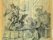 English: Charles-Nicolas Cochin (1715-90). Le statuaire et la statue de Jupiter, illustration for Jean de La Fontaine's Fables choisies, Book IX, Fable 175.