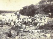 Japanese inhabitants of Etorofu (called Iturup by the Russians) at a riverside picnic in 1933.