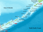 The Kuril Islands, showing the de facto division between Japan and Russia over time.