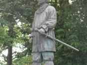 the bronze statue of Yamato Takeru at Ootori-taisha shrine, Sakai, Osaka, Japan(大阪府堺市の大鳥大社にあるヤマトタケルの銅像)