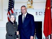 Former Secretary Powell with Her Excellency Wu Yi, Vice Premier of the People's Republic of China after their Bilateral.