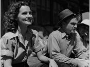 """A still photograph from the set of the film """"Captains of the Clouds"""" starring James Cagney and Brenda Marshall, 1942 / Photographie de plateau du film « Les chevaliers du ciel » mettant en vedette James Cagney et Brenda Marshall, 1942"""