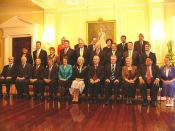 The Cabinet of the Fifth Labour Government in 2005, with the Governor General seated at centre.