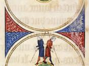 English: Illustration of the spherical earth in a medieval manuscript. The figure shows two men walking around the spherical earth, one going to the East and the other to the West, and meeting on the opposite side. O. H. Prior, ed., L'image du monde de ma