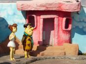 English: Fred and Wilma Flintstone figurines at the Ankara Public Amusement Park