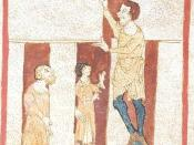 A giant helps Merlin build Stonehenge. From a manuscript of the Roman de Brut by Wace (British Library, Egerton 3208).