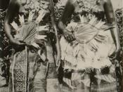 Two Fijian women in ceremonial dress.