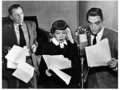 I Love a Mystery cast (l to r): Russell Thorson (who portrayed Jack Packard) watches Athena Lord (as Jerri Booker) and Jim Boles (Doc). In real life, Lord and Boles were married.