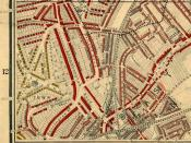 Map of Brixton in 1889, showing Coldharbour Lane, Angell Town and Loughborough Road. Published in Life and Labour of the People in London by Charles Booth. The red areas are