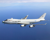 YAL-1A Airborne Laser in flight with the mirror unstowed