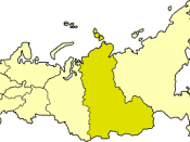East Siberian economic region on the map of Russia
