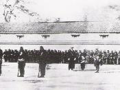 Training of Japanese Bakufu troops by the French Military Mission to Japan. 1867 photograph.