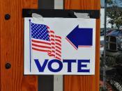 Señalización de lugar de votación en California. 2008.