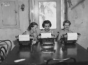 Three women with typewriters. Federal Emergency Relief Administration: FERA camps for unemployed women in Arcola, Pennsylvania;