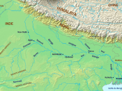 Map of the Ganges River from its origin in northern India to its entry into the Bay of Bengal through Bangladesh.