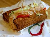 Photograph of a submarine sandwich from Quizno's. Taken on March 27, 2004. ;Photographer: Jon Sullivan ;Source: http://pdphoto.org/PictureDetail.php?mat=pdef&pg=8004
