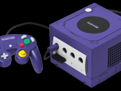 English: A Nintendo GameCube console shown with memory card and a standard controller. Note that the bottom port cover for the Game Boy Player Advance has been removed. This is the PNG version.