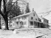 English: View from the northeast of Arrowhead, the residence of writer Herman Melville, at 780 Holmes Road, Pittsfield, Berkshire County, Massachusetts. Historic American Buildings Survey, Library of Congress, Washington, D. C.