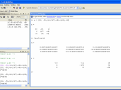 Screenshot of the MATLAB 7.4 command-line interface and GUI.