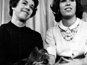 English: Publicity photo of Carol and Christine Burnett from the television show Person to Person.