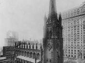 English: Bird's-eye view of Trinity Church, New York City.