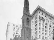 Madison square Presbyterian Church, the first of that name, built in 1854 and razed in 1906. Designed by Richard Upjohn. Title: Madison Avenue Presbyterian Church, New York Date Created/Published: c1903. Medium: 1 negative : glass ; 8 x 10 in. Part of: De