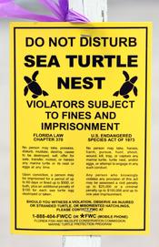 English: Legal posting related to sea turtles and their nests in Boca Raton, Florida. Français : Avertissement légal concernant les tortues marines et leur nids à Boca Raton, en Floride.