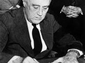 English: United States President Franklin D. Roosevelt signing the declaration of war against Japan, in the wake of the attack on Pearl Harbor.