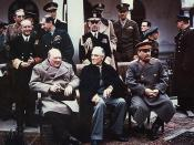 Yalta summit in February 1945 with (from left to right) Winston Churchill, Franklin Roosevelt and Joseph Stalin. Also present are USSR Foreign Minister Vyacheslav Molotov (far left); Admiral of the Fleet Sir Andrew Cunningham, RN, Marshal of the RAF Sir C