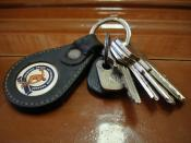 A leather keychain