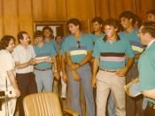 Chris Roupas (sunglasses on shirt) with the 1982 USA-AHEPA All-Star Basketball Team In Greece. (click on photo for complete caption)