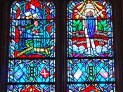 Stain glass window of Stonewall Jackson in the Washington National Cathedral