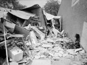 English: Photograph showing the wreckage of a bomb explosion near the Gaston Motel where Martin Luther King., and leaders in the Southern Christian Leadership Conference were staying during the Birmingham campaign of the Civil Rights movement. Trikosko, M