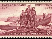 English: U.S. Postage: Lewis and Clark Expedition, 1954 Issue-3c.