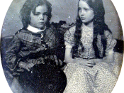 Sixth plate daguerreotype of Una and Julian Hawthorne, the children of Nathaniel Hawthorne seated together on a sofa.