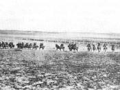 Charge of the Australian 4th Light Horse Brigade at the Battle of Beersheba.