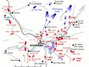 Positions of forces at dusk on October 31, 1917, during the Battle of Beersheba at the time of the charge of the 4th Light Horse Brigade. British forces are shown in red, Turkish forces are shown in blue. The position reached by the regiments of the 4th L